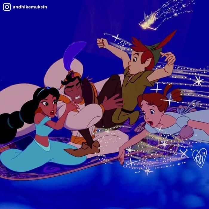Artista Andhika Muksin recrea personajes Disney; Jasmín y Aladdín volando en la alfombra mágica, chocan con Peter Pan y Wendy que vuelan con el polvo de hadas