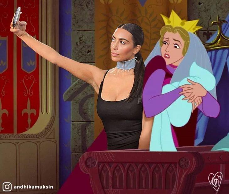 Artista Andhika Muksin recrea personajes Disney; Kim Kardashian tomándose una selfie con Aurora de bebé y su mamá