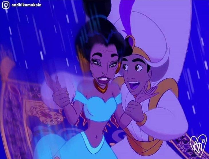 Artista Andhika Muksin recrea personajes Disney; Jasmín y Aladdín volando en alformbra voladora