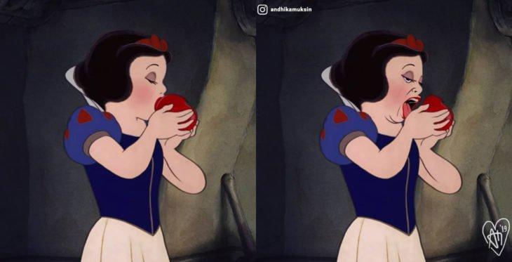 Artista Andhika Muksin recrea personajes Disney; princesa Blancanieves mordiendo la manzana; expectativa y realidad