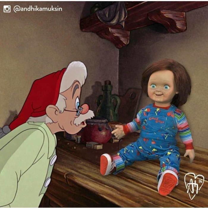 Artista Andhika Muksin recrea personajes Disney; Gepetto, de Pinocho, con Chucky