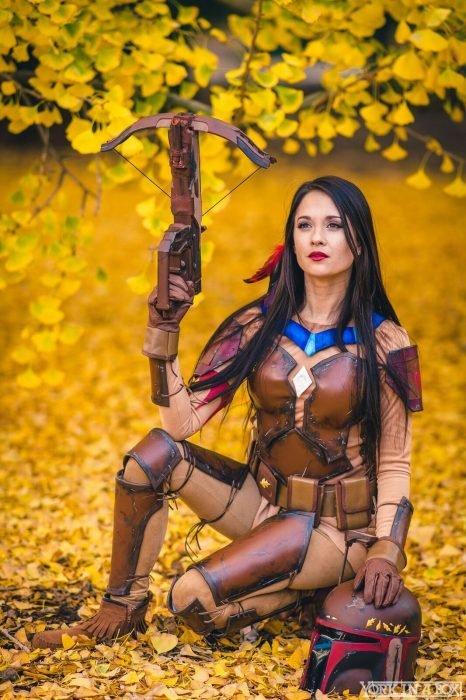 Cosplay de Pocahontas combinado con Star Wars
