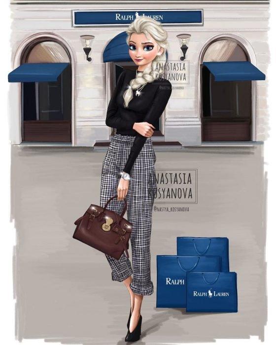 Ilustración de las princesas de Disney fashionistas y a la moda