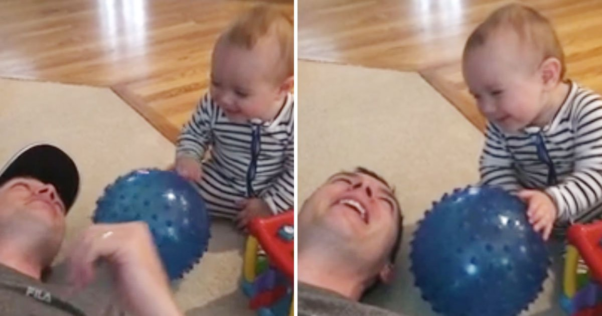 baby pranks dad.jpg?resize=412,232 - This Baby Laughs Out Loud After Pulling A Prank On His Dad - His Laugh Is Contagious