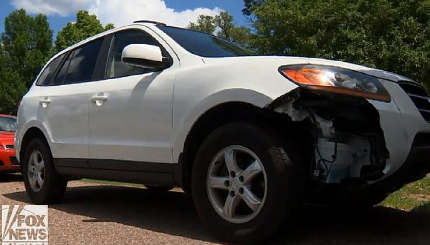 The large vehicle suffered a broken bumper from the trip. Credit: Fox 9
