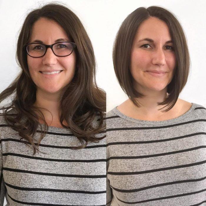 Cambio de cabello de una mujer de largo a bob