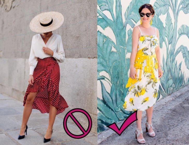 Chica usando una falda de estampado de puntos vs una chica que usa un vestido de estampado floral