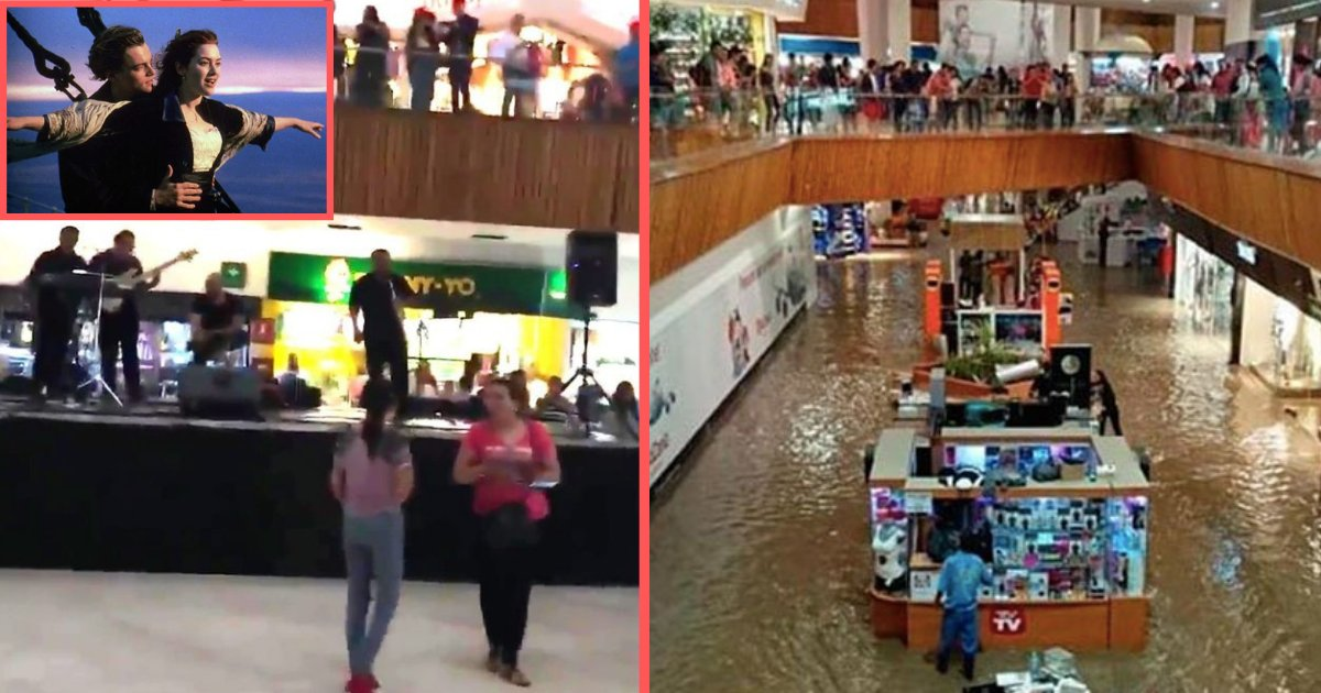 d1 8.png?resize=412,232 - While the Shopping Mall Floods, a Band Starts Playing Titanic Theme Song