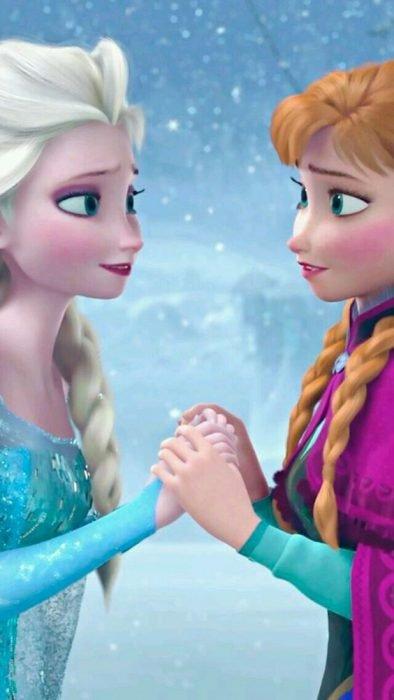 Ana y Elsa en el hielo película Frozen
