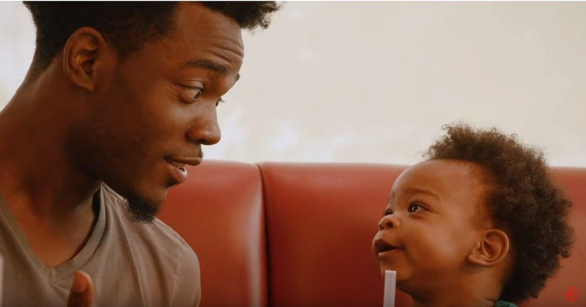"""f3 2.jpg?resize=412,275 - Father And Baby Son's Adorable """"Conversation"""" Video Landed Them A Spot In Denny's New Ad"""