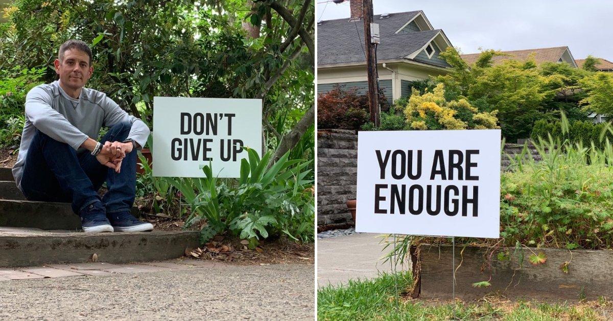 featured image 4.png?resize=412,232 - Un papa a placé des signes de motivation autour de son quartier après une vague de suicides chez les adolescentes