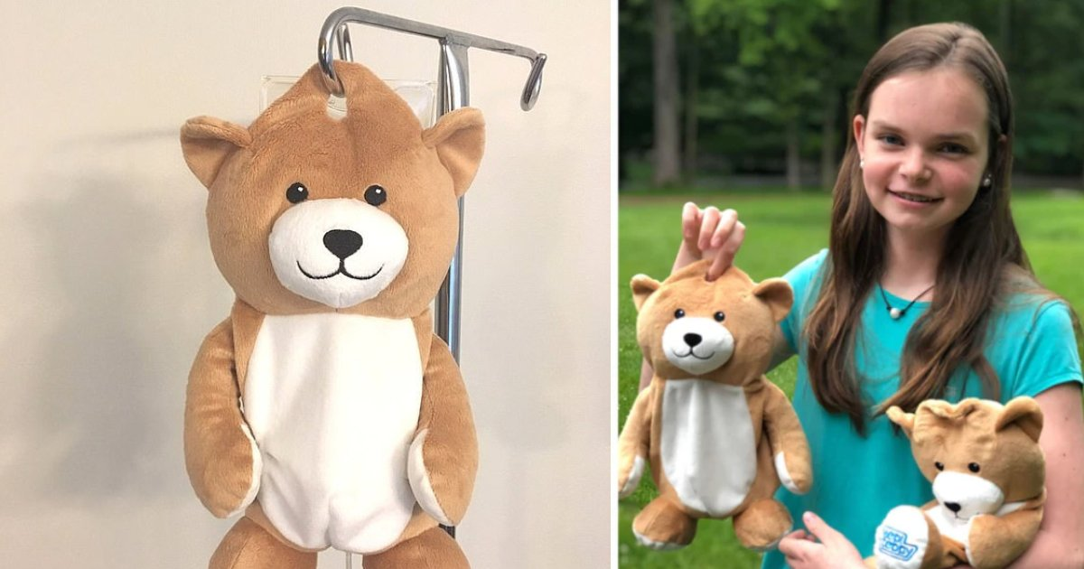 featured image 43.png?resize=412,232 - A Girl Invented A Teddy Bear To Conceal IV Hospital Drips For Young Patients Like Her