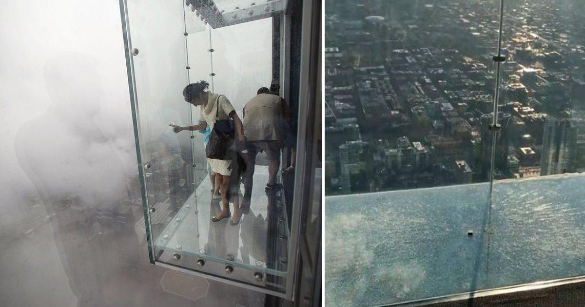 featured image 44.png?resize=300,169 - Les touristes sont terrifiés après que le sol en verre du 103ème étage de la tour Willis de Chicago craque sous leurs pieds