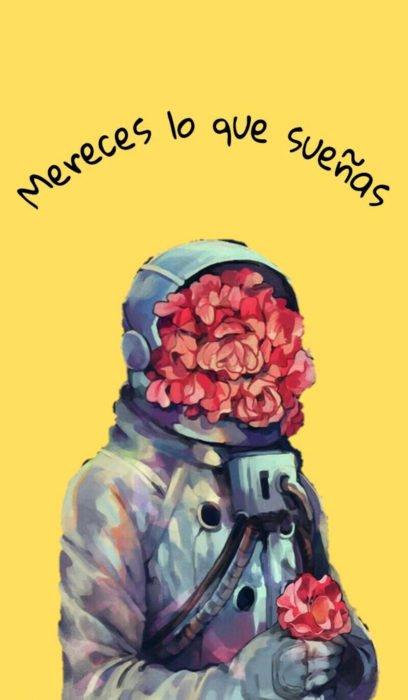 Fondo de pantalla de frases para celular; wallpaper de astronauta con flores en el casco