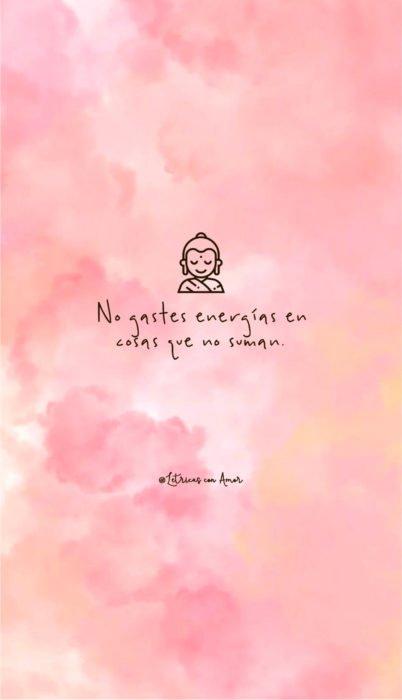 Fondo de pantalla de frases para celular; wallpaper de Buda son nubes rosas pastel