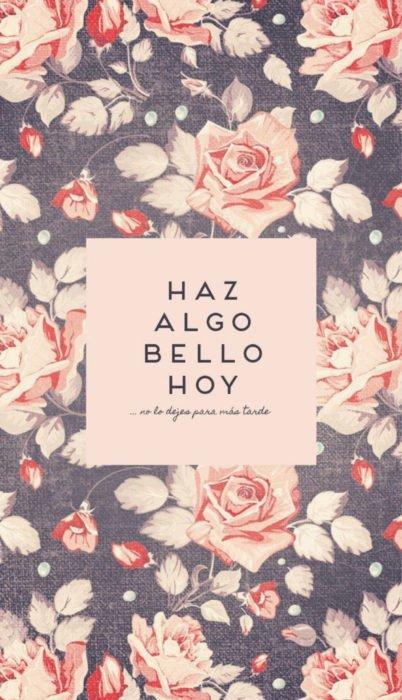Fondo de pantalla de frases para celular; wallpaper de cartel sobre rosas