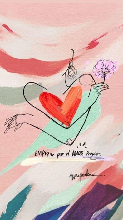Fondo de pantalla de frases para celular; wallpaper de dibujo de mujer con flor y corazón