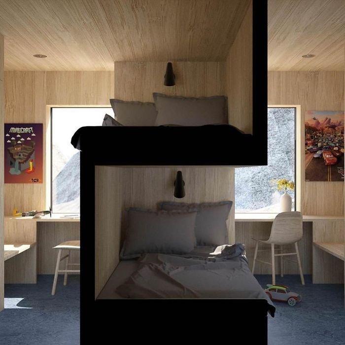 Sibling Bedroom By @vardehaugen_arkitekter