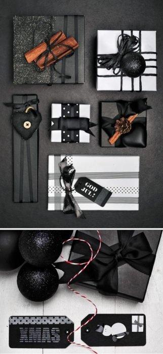 envoltura de regalos negros