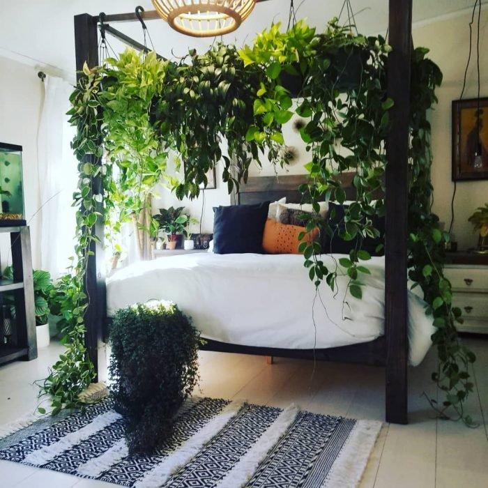 Cama decorada con un dosel hecho de plantas verdes que cuelgan alrededor de toda la cama