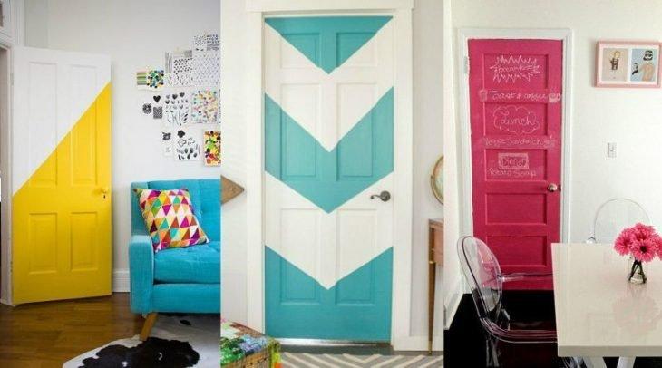 Puerta decorada de una habitación colorida