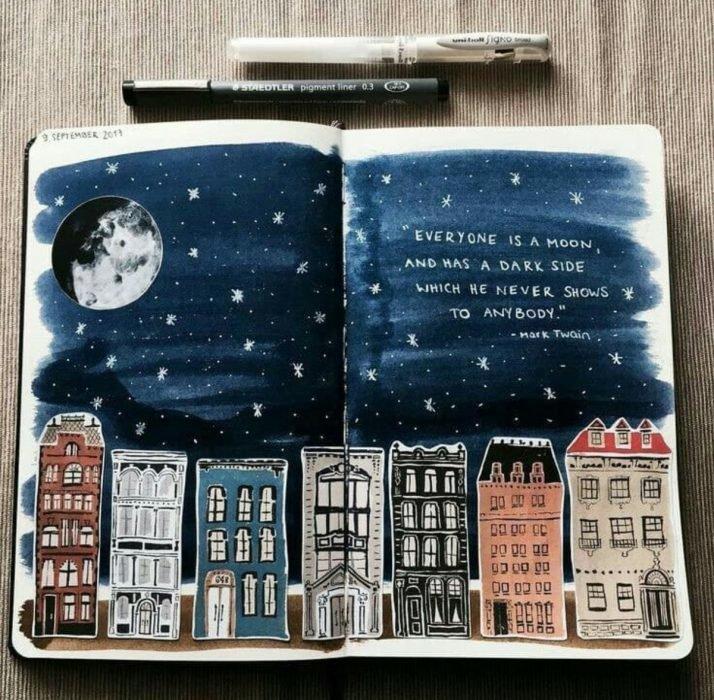 paisaje nocturno en diario