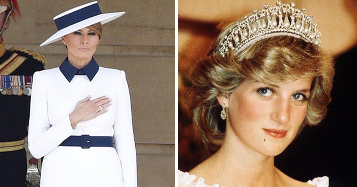 melania tribute diana.jpg?resize=412,232 - Melania Trump Paid A Sweet Tribute To Princess Diana As She Arrived At Buckingham Palace