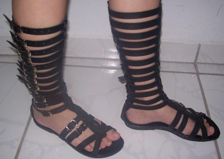 sandalias de gladiador largas