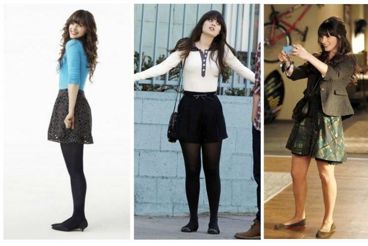 mujer con falda corta y medias