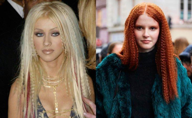 Peinados de los noventa que están de vuelta; cantante Christina Aguilera con ondas con waflera; chica pelirroja con cabello indulado
