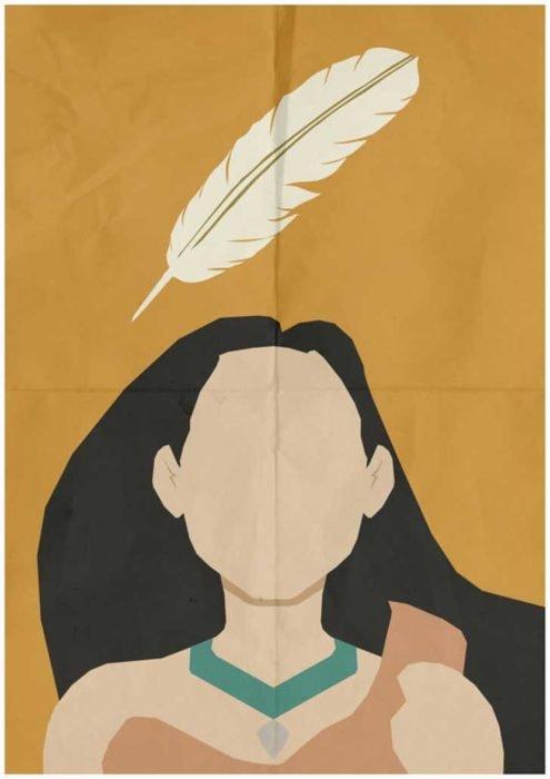 """Poster minimalista y vintage de la película clásica de Disney """"Pocahontas"""""""