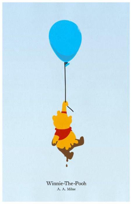 """Poster minimalista y vintage de la película de Disney """"Winnie Pooh"""""""