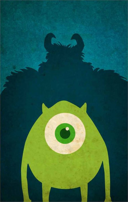 "Poster minimalista de la película de Disney ""Monsters Inc"" Mike y Zully posando de frente"