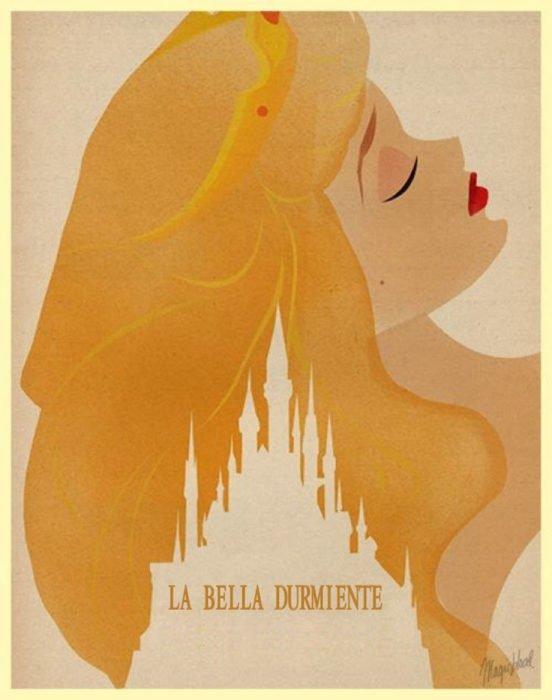 """Poster minimalista de la película clásica de Disney """"La bella y la bestia"""""""