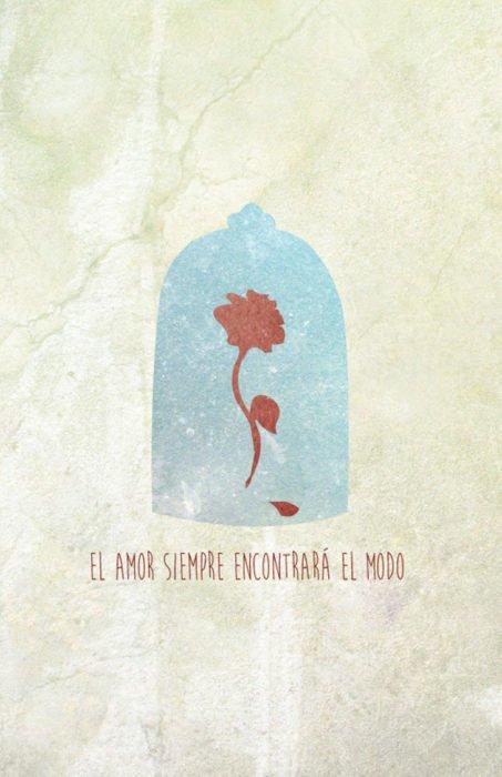 """Poster con tonos minimalistas de la película clásica de Disney """"La bella y la bestia"""". Flor dentro de una cápsula"""