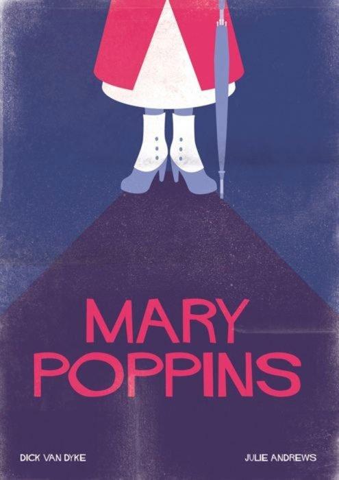 """Poster minimalista y vintage de la película clásica de Disney """"Mary Poppins"""""""