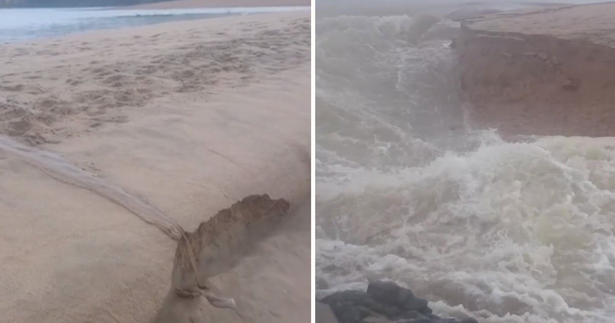 river cut channel coean.jpg?resize=412,275 - Incredible Video Of A River Cutting A New Channel Into The Ocean