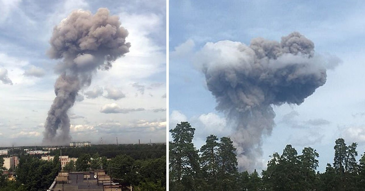 russian tnt explosion.jpg?resize=1200,630 - Mushroom Cloud Erupted After An Explosion At Russian TNT Factory Which Left 38 People Injured