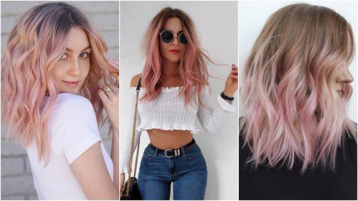 Tres chicas de cabello corto modelando su melena teñida de color Pastel balayage