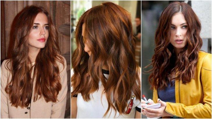 chicas con cabello largo, peinado ondulado ligero, teñido en color Dusty Copper, modelando su melena