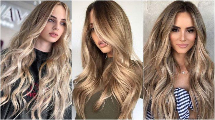 Tres chicas delgadas de piel blanca con cabello extra largo peinado ondulado teñido en color Honey blond
