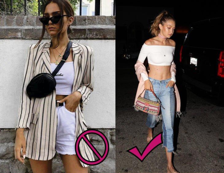 Chica de la imagen izquierda usando una riñonera vs Gigi Hadid caminando mientras lleva una bolsa baguette