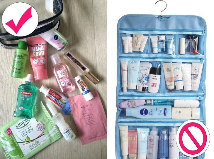 Manera correcta de llevar productos en una maleta