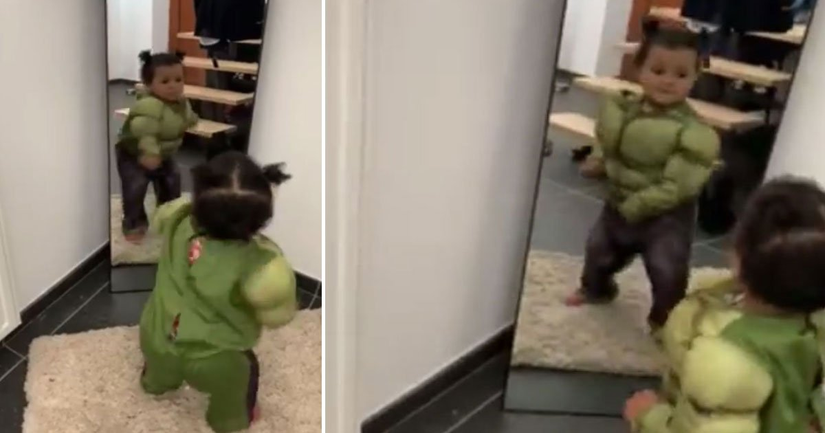 toddler hul costume moves bully.jpg?resize=1200,630 - Adorable Little Girl Practicing Fighting Moves Wearing Hulk Costume To Fight The Bully