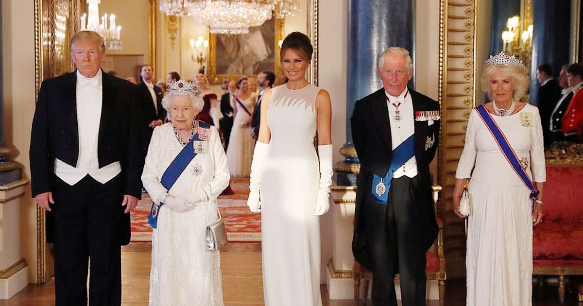 trump the queen.jpg?resize=412,232 - President Donald Trump Called The Queen A 'Great, Great Woman' In His Speech At State Banquet In Buckingham Palace Ballroom