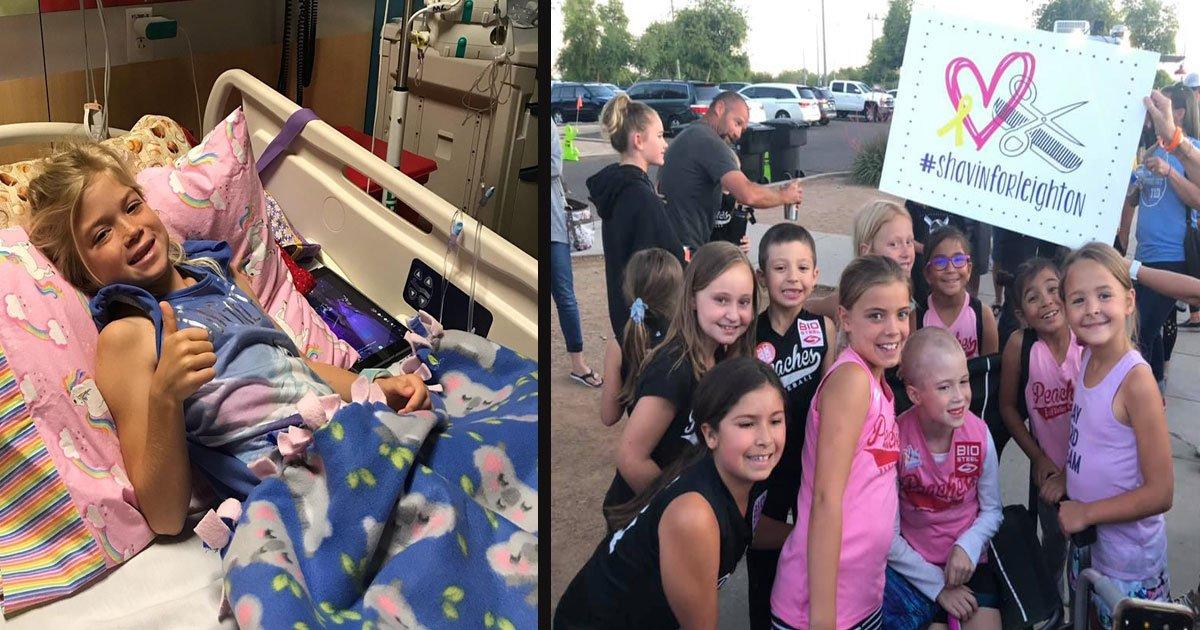 untitled 1 4.jpg?resize=300,169 - Ses coéquipiers et ses entraîneurs rasent la tête pour montrer leur soutien à une fillette de 7 ans atteinte d'un cancer de stade 4