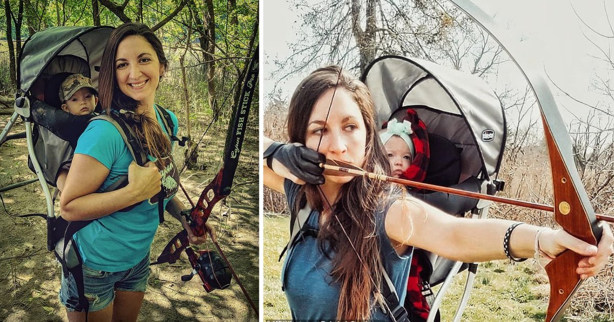 y3 2.png?resize=1200,630 - Huntress Mother Takes Her 9-Month-Old Daughter On Every Hunt On Her Back