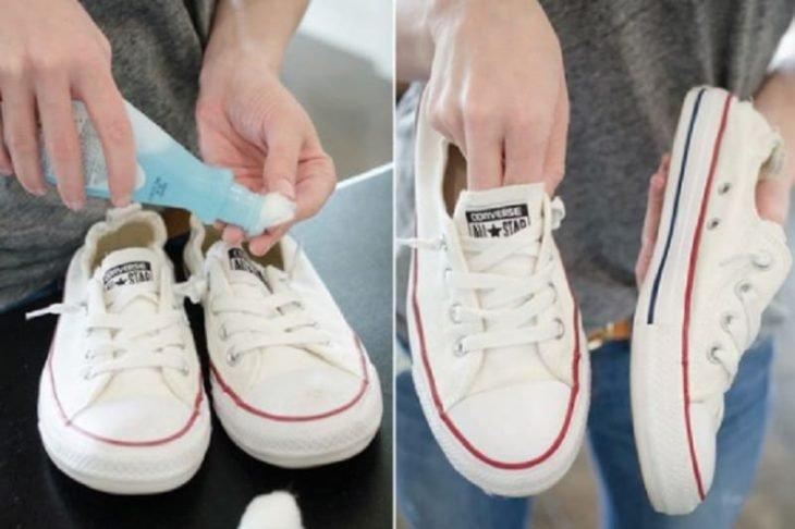 quita esmalte zapatos blancos deportivos