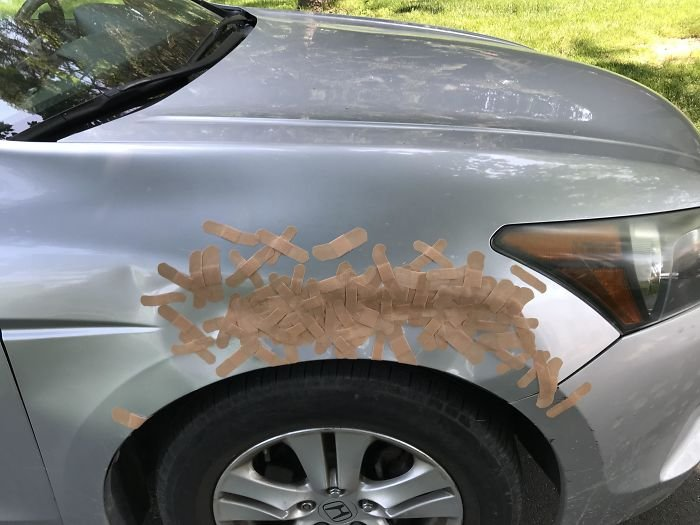 My 16-Year-Old Sister Said She Will Keep Adding Band-Aids To My Car Until I Get My Dent Fixed. Day 96
