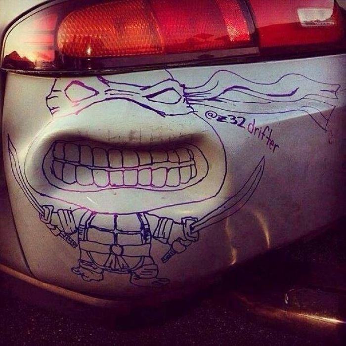 My Ninja Turtles Drawing On A Bumper Dent